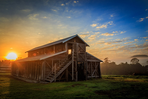 barn clouds farm grass landscape nsw newsouthwales shed sunrise trees