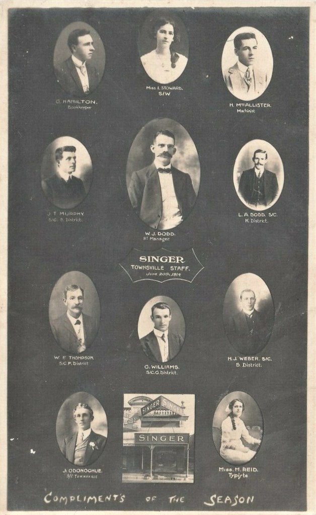 Members of the Townsville staff for Singer Sewing Machines - June