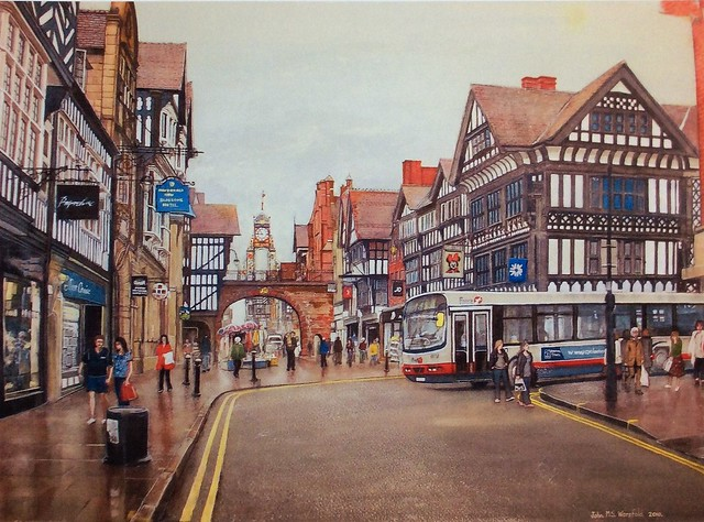 Watercolour painting by jmsw. Chester Clock