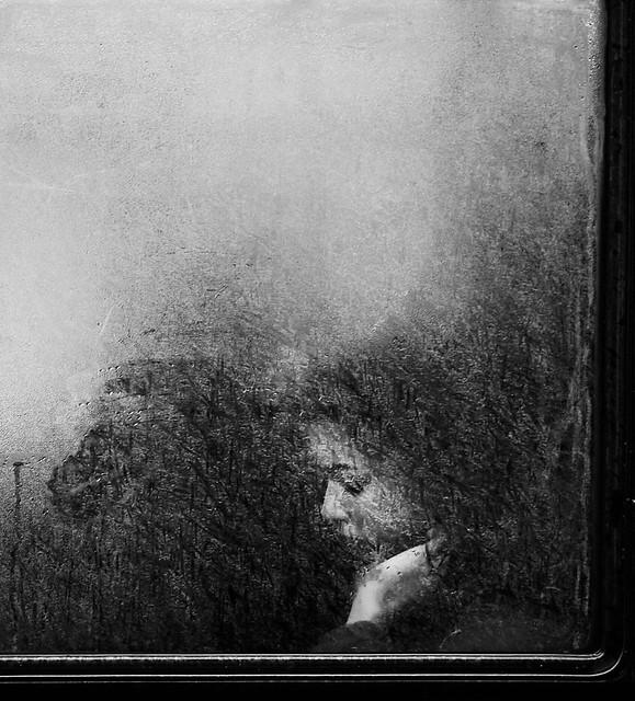 Steamy bus window