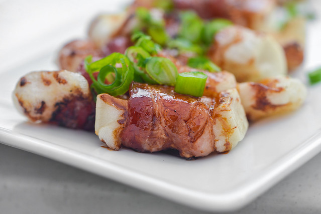 Grilled Bacon-wrapped Mochi with Teriyaki Sauce Recipe