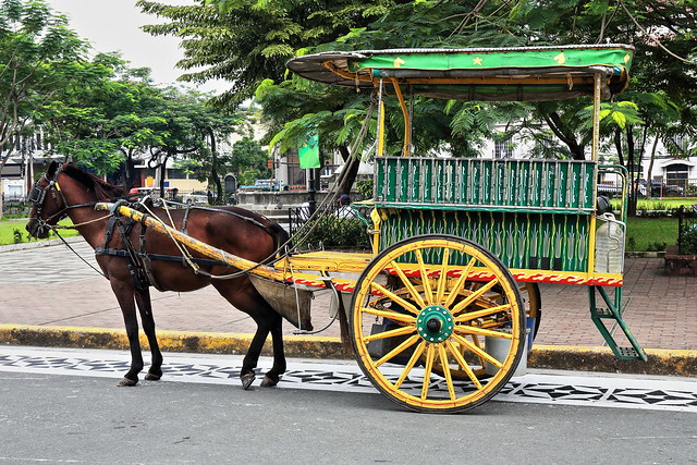 Horse drawn kalesa-calash on Sto.Tomas Street facing the Cathedral. Intramuros-Manila-Philippines-0968