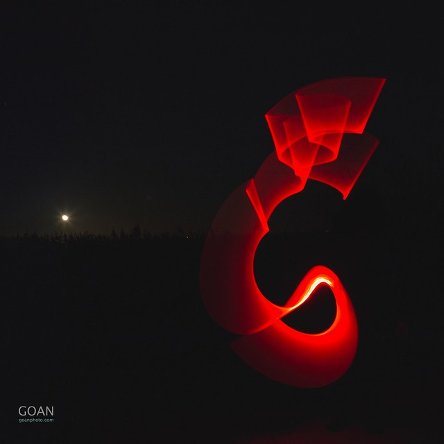 Red light dragon at moonrise