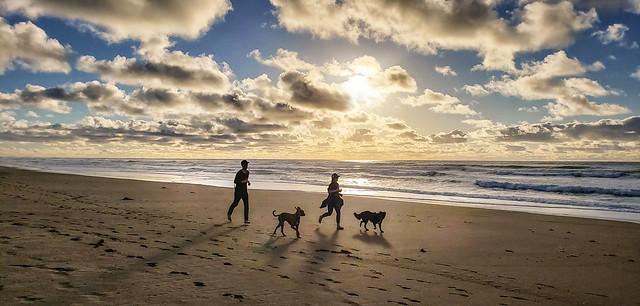 Sunset jog at Morro Dunes Natural Preserve in Los Osos, California
