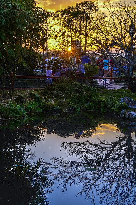 China Pavilion water reflection sunset Epcot