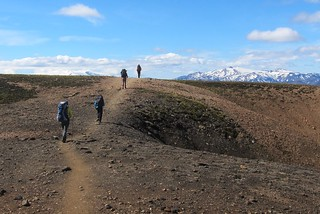 Iceland ~ Landmannalaugar Route ~  Ultramarathon is held on the route each July - Hiking to new campsite   by Onasill ~ Bill Badzo