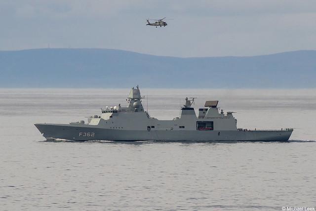 Royal Danish Navy Iver Huitfeldt-class frigate Peter Willemoes, F362; Moray Firth, Scotland