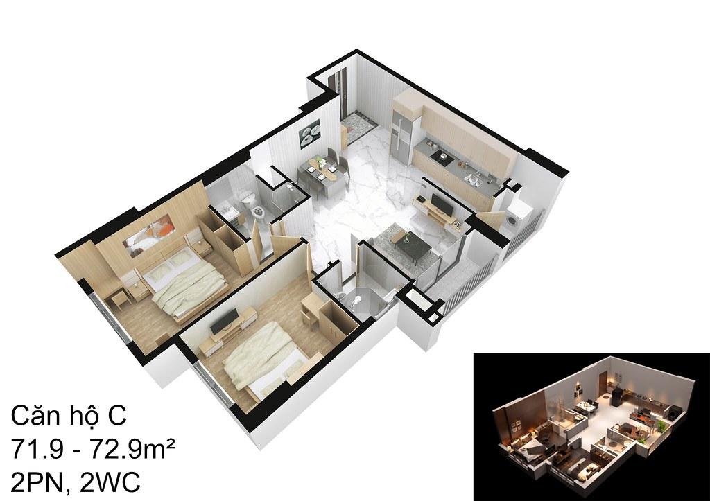 mẫu căn hộ C Raemian Đông Thuận I-Park