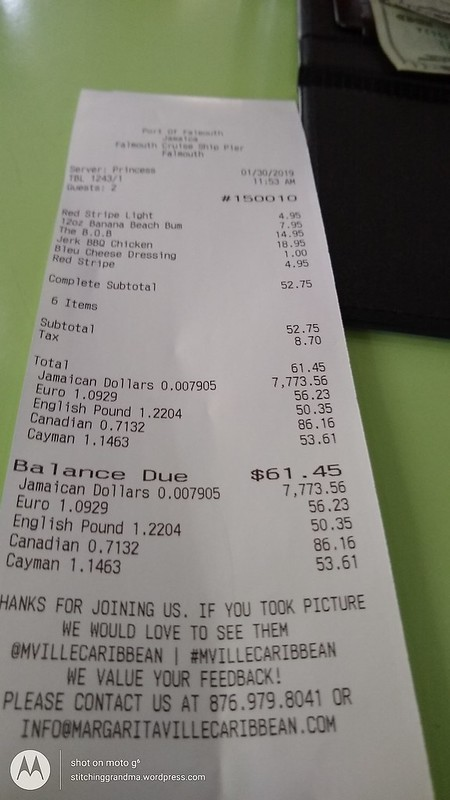 The bill for lunch