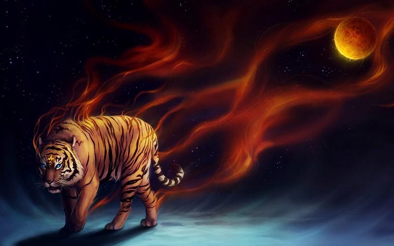 Обои тигр, абстракция, луна, арт картинки на рабочий стол, фото скачать бесплатно