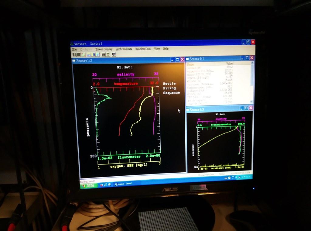 隨著施放深度,量測的海水資料持續記錄。李彥輝攝。