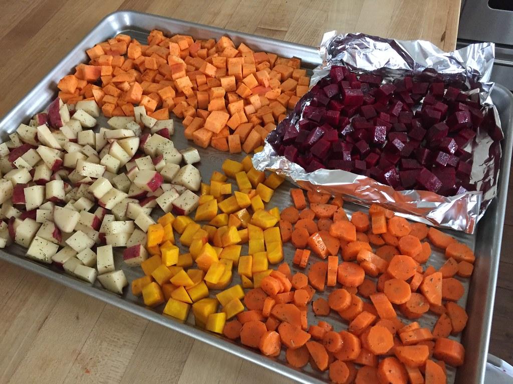 roasted veggies on a large sheet pan