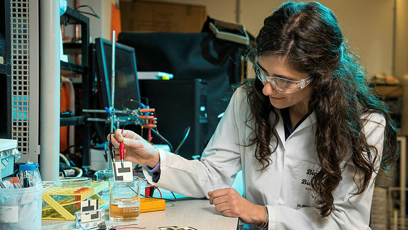 Mirella and her team have developed a paper based Microbial Fuel Cell to detect the presence of harmful bacteria in drinking water in developing countries. Pictured: Mirella in lab with samples.