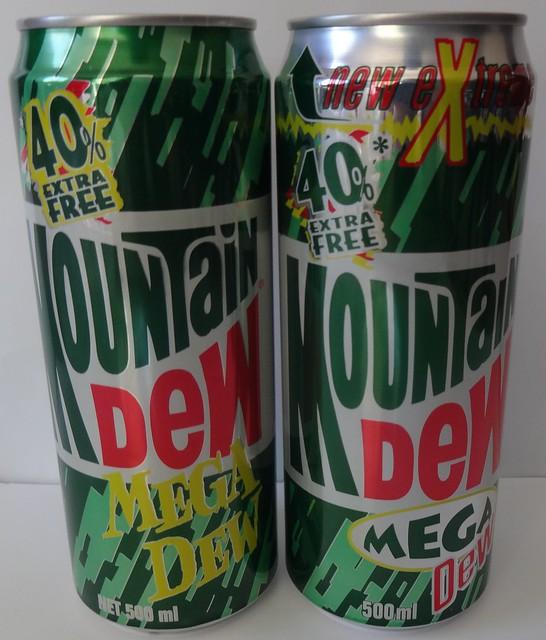 Mid 1990s Mountan Dew 500ml Cans - New Zealand