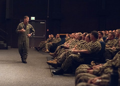 PEARL HARBOR, Hawaii (April 12, 2019) Adm. John C. Aquilino, commander of U.S. Pacific Fleet (PACFLT), holds an all-hands call with Navy leadership triads from Hawaii-based units to discuss three objectives - winning a high-end fight, winning without fighting, and building and sustaining readiness throughout the fleet. (U.S. Navy photo by MC1 Nate Laird/Released)