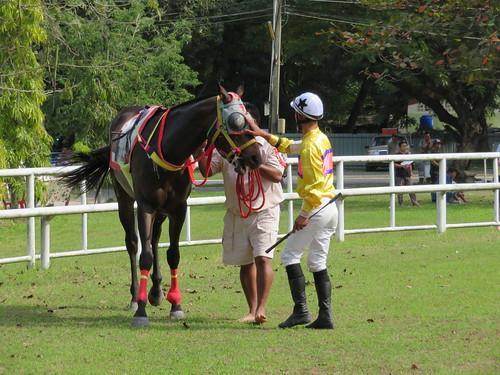 チェンマイ競馬場の馬に祈りを捧げる騎手