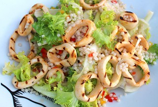 GRILLED CALAMARI SALAD WITH FRISEE AND ISRAELI COUSCOUS | by www.ChefsOpinion.org