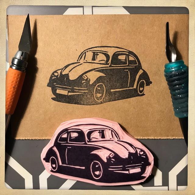 A freshly carved Volkswagen Bug rubber stamp! 🚗🚗 #rubberstamp #craft #make #create