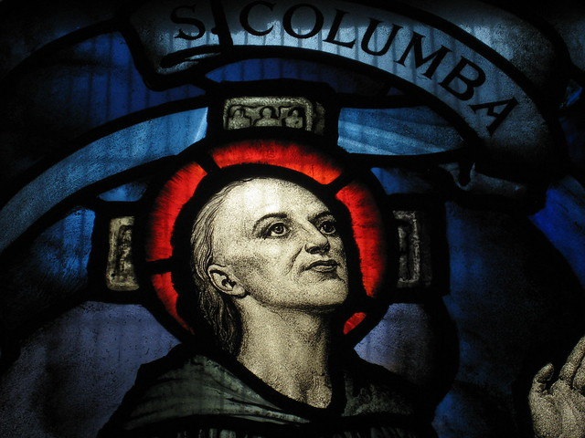 Detail of the Saint Columba Window by Napier Waller: Saint John the Apostle and Evangelist Church of England - Burke Road, Camberwell