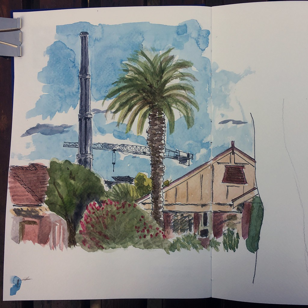 The Paisley Road heritage-listed sewer vent in Croydon, NSW. Viewed from Fitzroy St. Ink and watercolour.