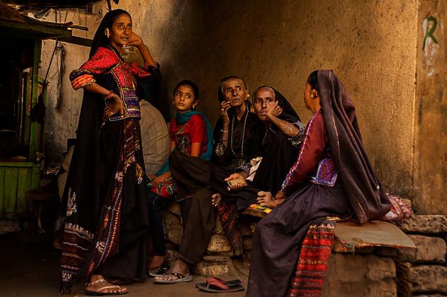 Conversation of rabari women. Anjar. Gujarat. India.