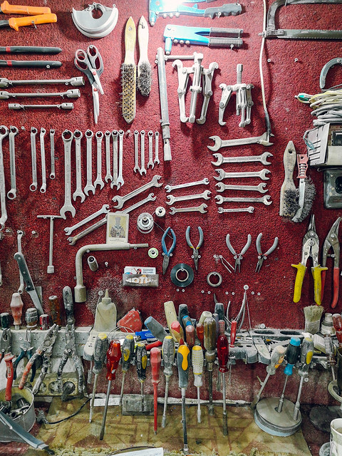Tools on a tool board