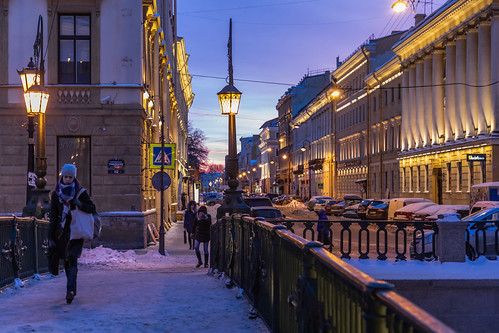 saintpetersburg sunrise winter street people city outdoor town cold morning blue colorful style purple design cityscape architecture sky nature russia yellow frost snow outdoors petersburg russian st leningradoblast ru