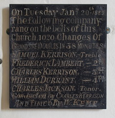 On Tuesday January 20th 1885 the following company rang on the bells of this church