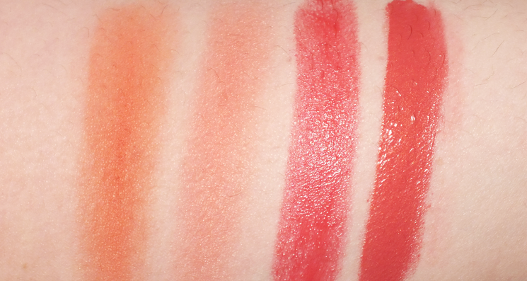 living coral blush and lip swatches
