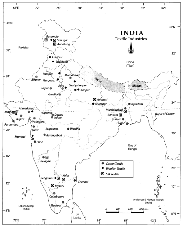 Class 10 Geography Map Work Chapter 6 Manufacturing Industries 1