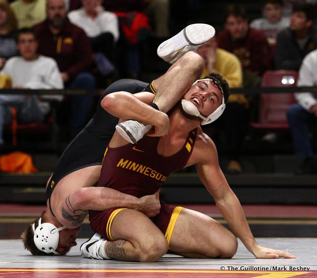 184 #14 Cash Wilcke (Iowa) dec. Brandon Krone (Minnesota) 9-2. 190113AMK0109