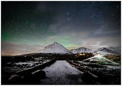 Aurora over Sgurr Mhairi from Sligachan Old Bridge