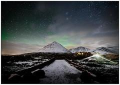 Aurora over Sgurr Mhairi from Sligachan Old Bridge
