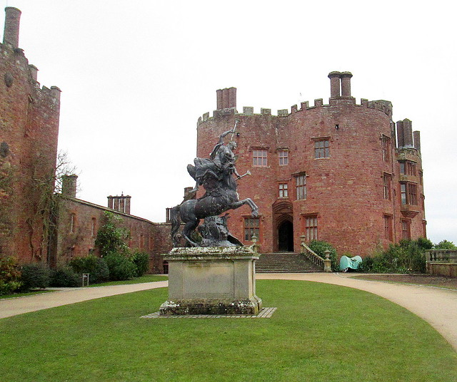 Powis Castle, Courtyard and Equestrian Statue