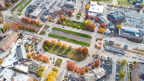 Aerial view of Shaker Square, Cleveland