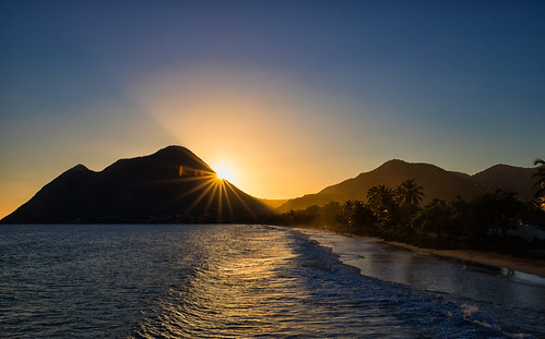 mountains sea sunset