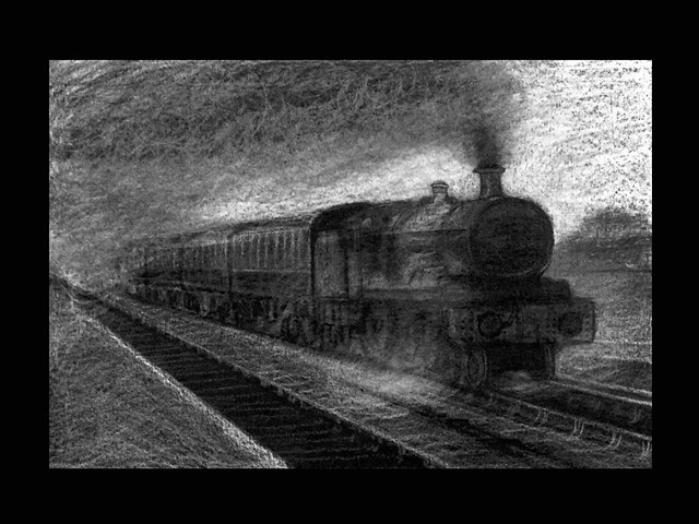 Study of Steam Train. Black and white pencil on black card by jmsw