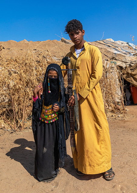 Portrait of Rashaida tribe teenage boy and girl in traditional clothing, Kassala State, Kassala, Sudan