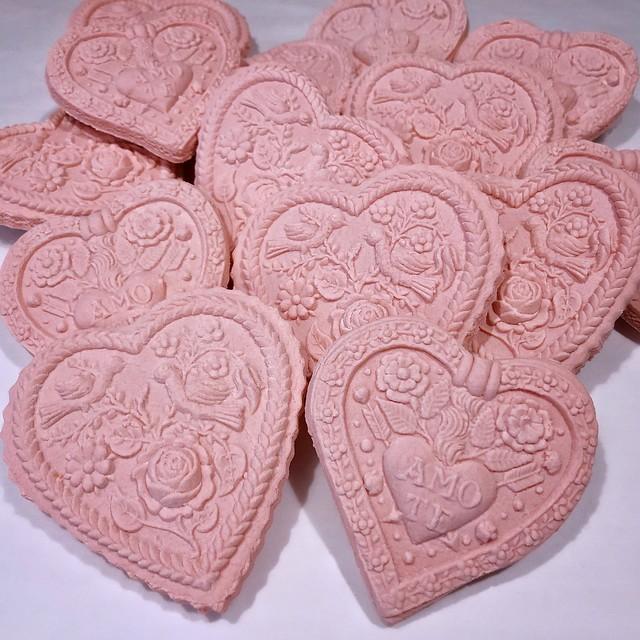 Pink Hearts Springerle Cookies