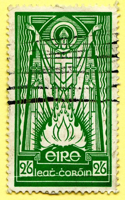 *March 17th* St. Patrick's Day (Irish National Day); old stamp Eire Ireland 2,6 Sh St. Patrick (Naomh Pádraig; patron saint of Ireland; Patrick von Irland, Patrick d'Irlande, Святой Па́трик, Sanctus Patricius, San Patrizio, Szent Patrik, 聖博德, Sveti Patrik