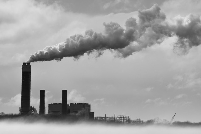 factory in the fog