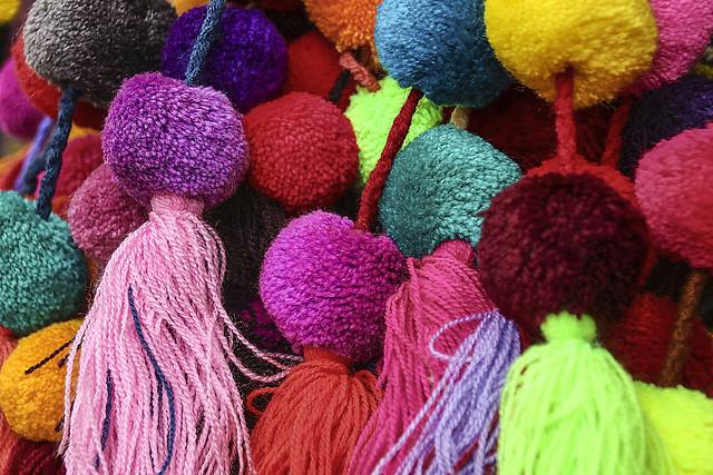 coloured pom pom balls