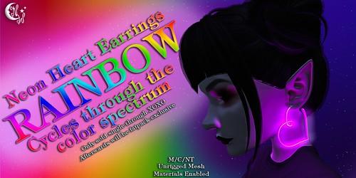 *NW* Neon Heart Earrings - Rainbow | by NeverWish