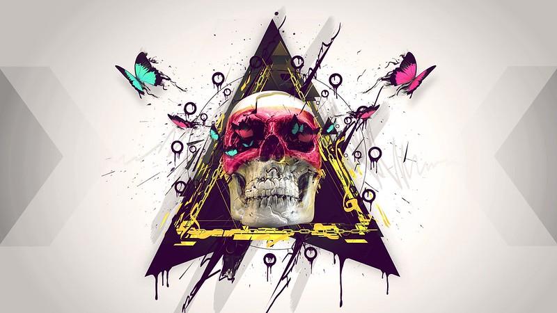 Обои череп, краска, бабочка, треугольник картинки на рабочий стол, фото скачать бесплатно