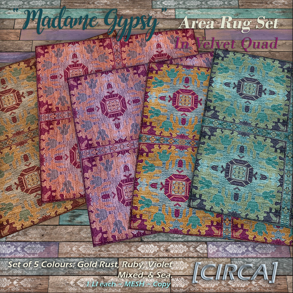"@ The Boardwalk | [CIRCA] – ""Madame Gypsy"" – Area Rug Set – Velvet Quad"