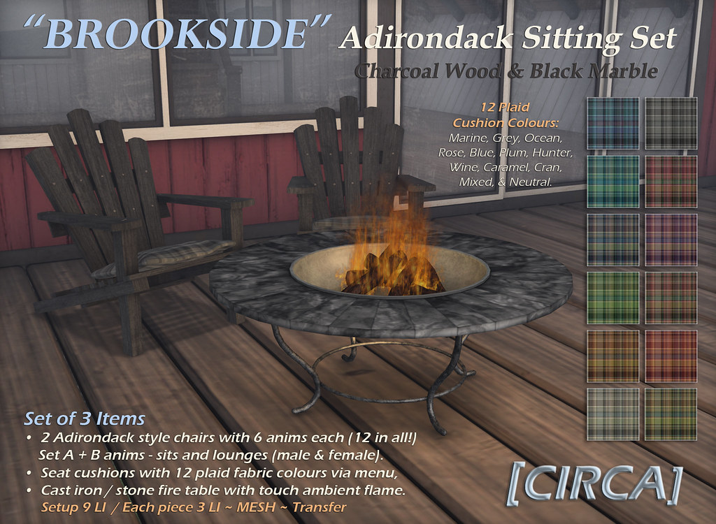 "For Syndicate Sunday | [CIRCA] – ""Brookside"" Adirondack Sitting Set – Char Wood & Black Marble"