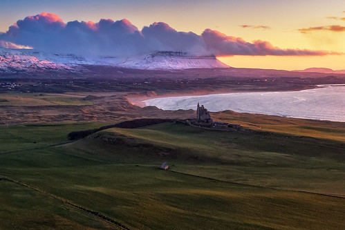 classiebawn castle mullaghmore valley benbulben dji phantom 4 four pro p4p drone uav aerial ben bulben county sligo mountain snowcapped snow capped winter frozen 2019 hill cliff landscape scape donegal ireland irish nature natural tourist site visit gareth wray photography sky sun photographer mountains walk heather stack table top dartry benbulbin grange day vacation country house manor lord mountbatten cliffoney holiday europe bulbin wild atlantic way route sunset scenic cliffony