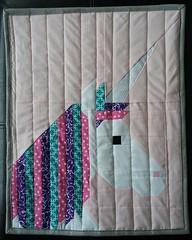 unicorn doll quilt pink