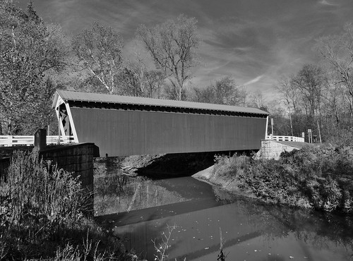 blackwhite blackandwhite bw water creek stream clouds thomasford covered bridge outside transportation scenic scenery landscapes georgeneat patriotportraits neatroadtrips indiana county pa pennsylvania