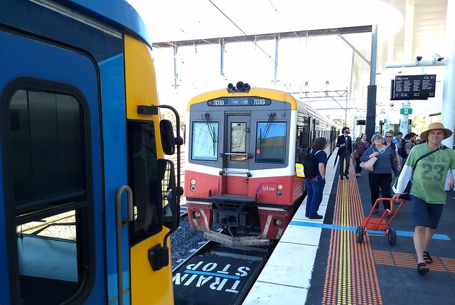 Trains to Melbourne and Stony Point waiting at Frankston